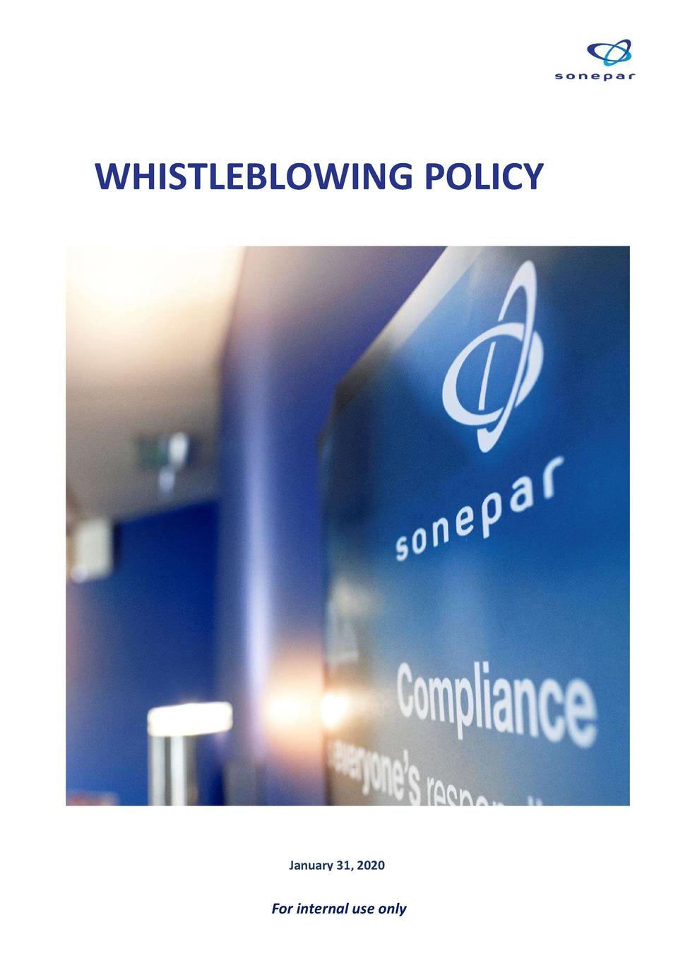 WHISTLEBLOWING POLICY  January 31, 2020  For internal use only